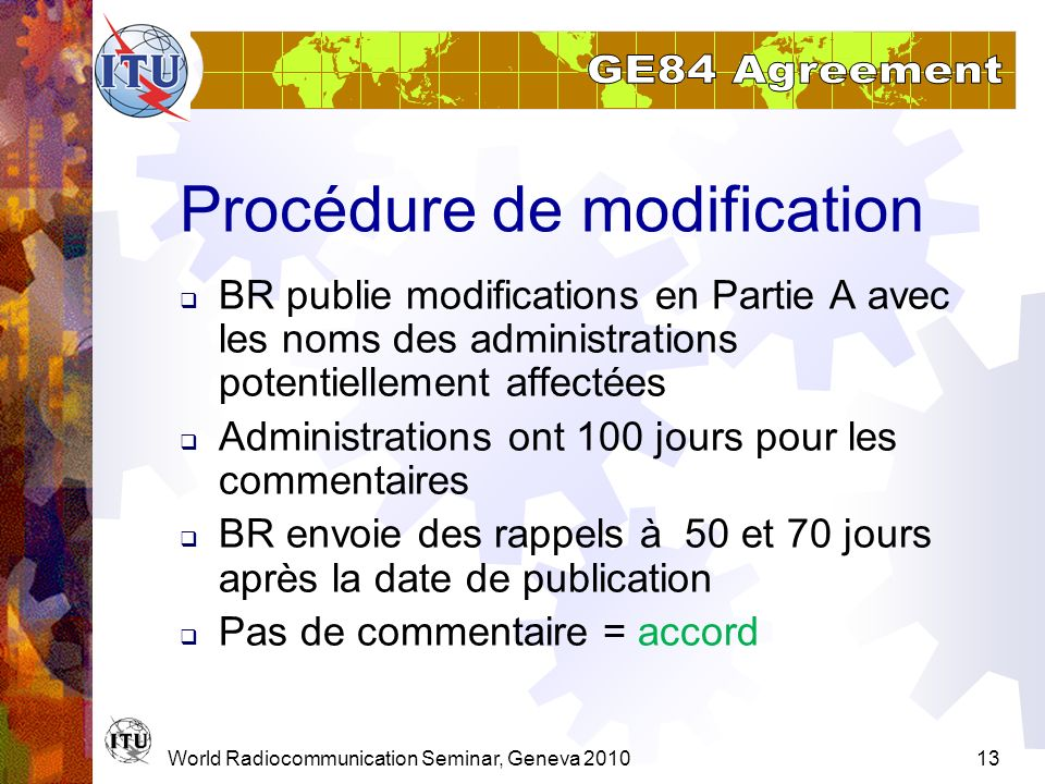 Procédure de modification