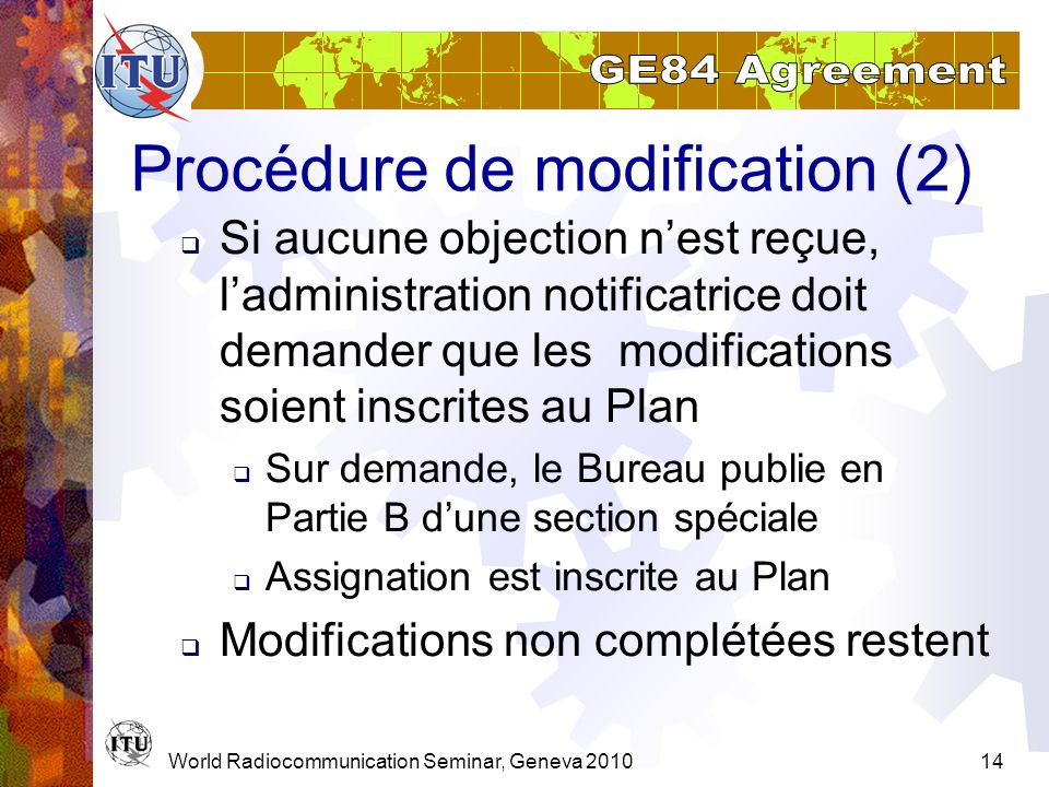 Procédure de modification (2)
