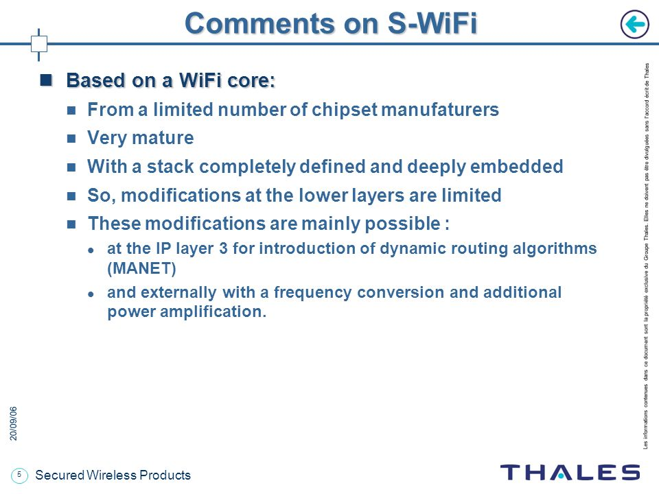 Comments on S-WiFi Based on a WiFi core: