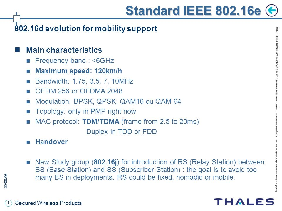 Standard IEEE e d evolution for mobility support