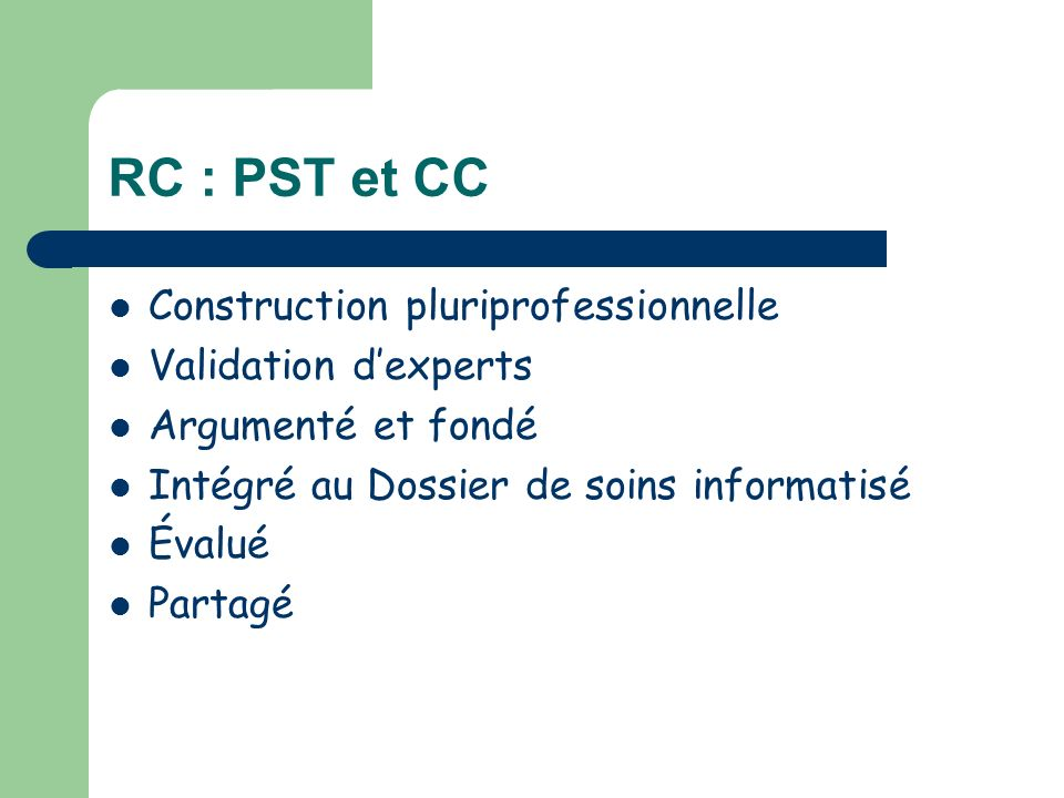 RC : PST et CC Construction pluriprofessionnelle Validation d'experts