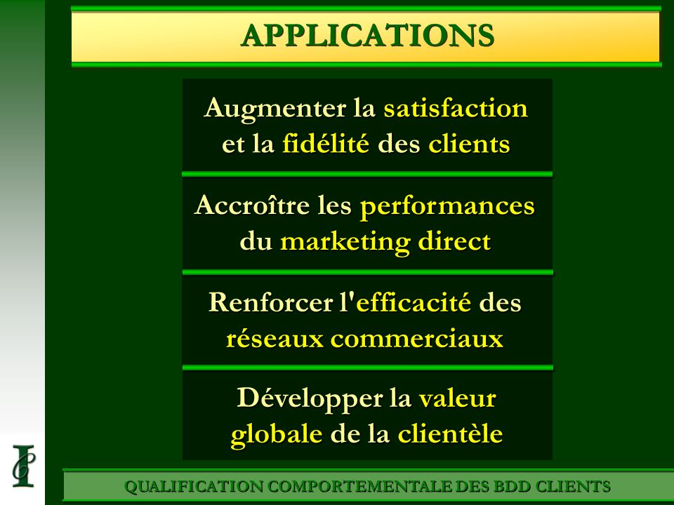 APPLICATIONS Augmenter la satisfaction et la fidélité des clients