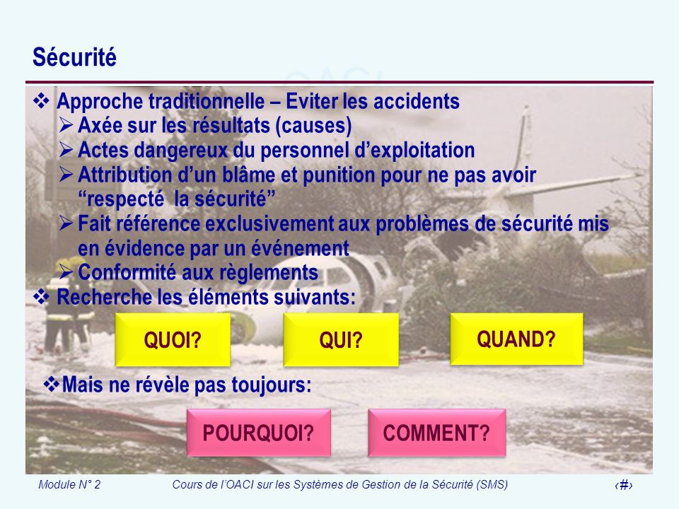 Sécurité Approche traditionnelle – Eviter les accidents