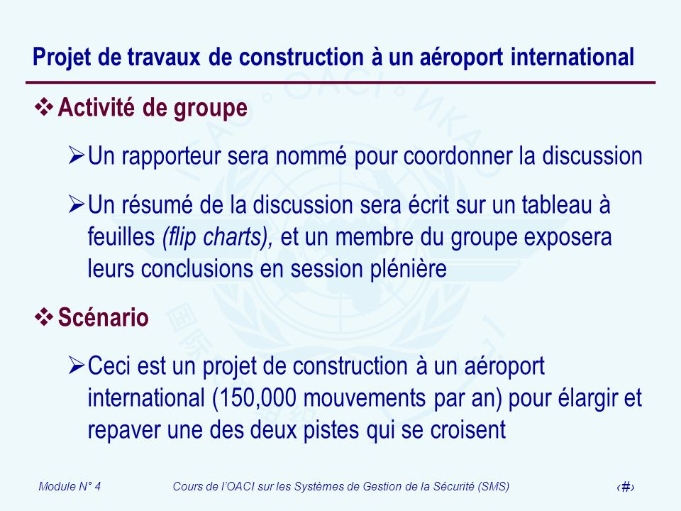 Projet de travaux de construction à un aéroport international