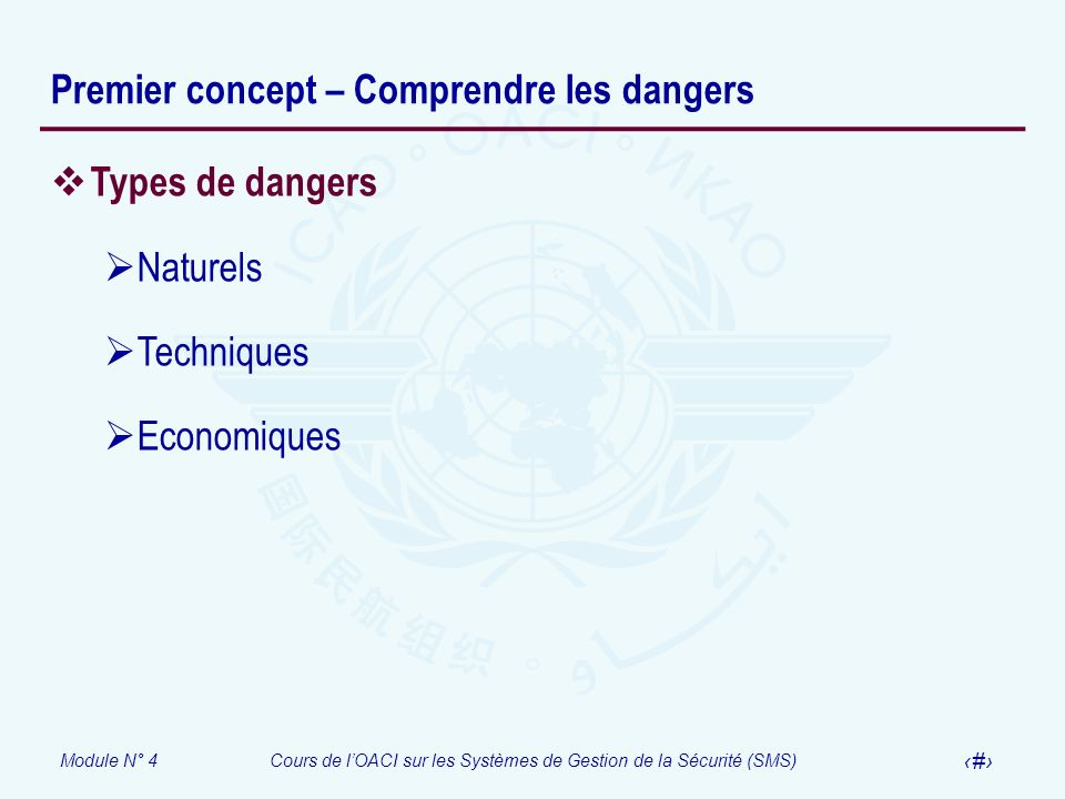 Premier concept – Comprendre les dangers