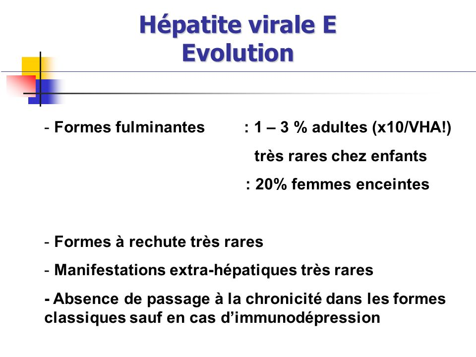 Hépatite virale E Evolution