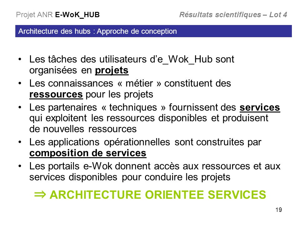 ⇒ ARCHITECTURE ORIENTEE SERVICES