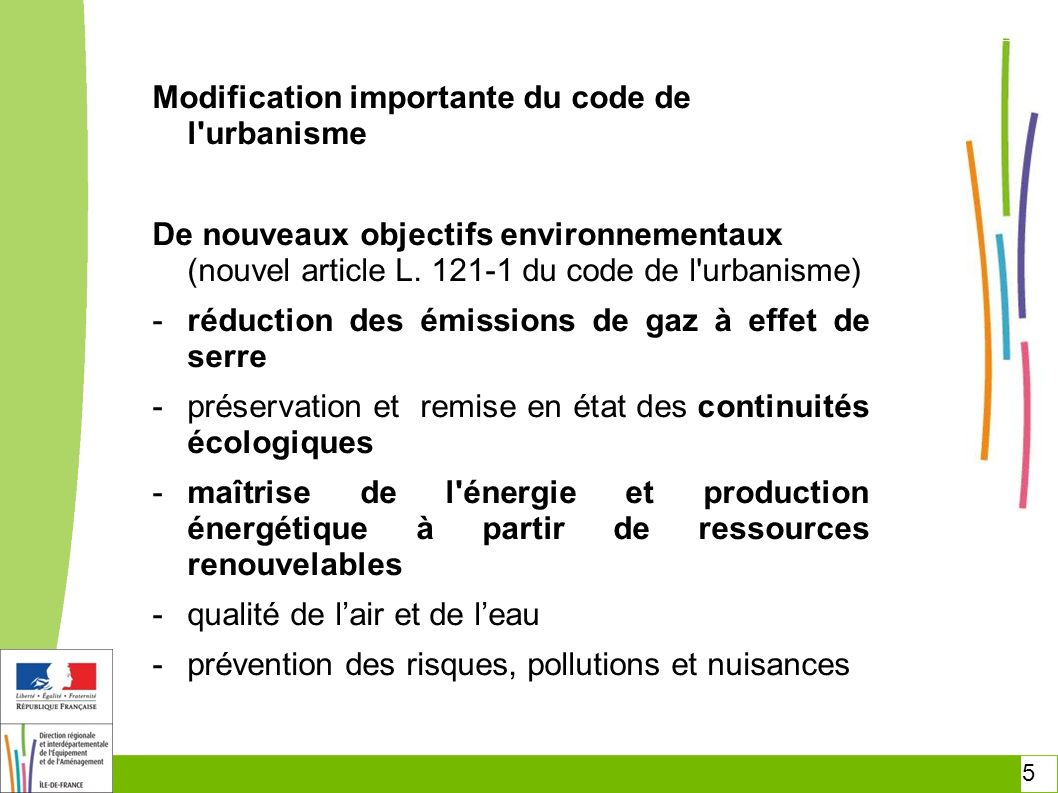 Modification importante du code de l urbanisme