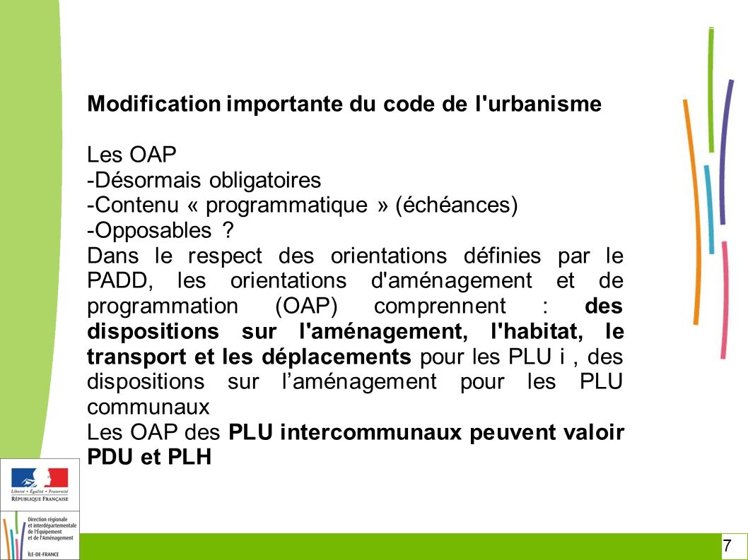 Modification importante du code de l urbanisme Les OAP