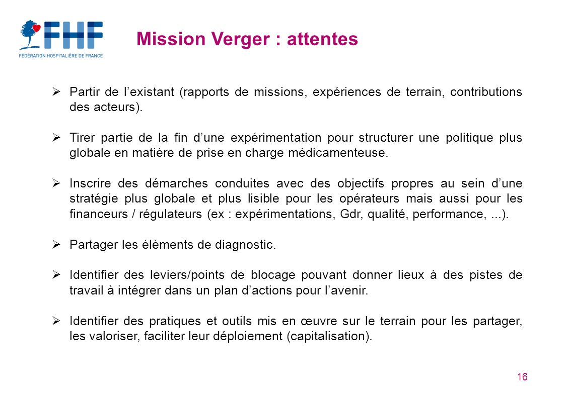 Mission Verger : attentes