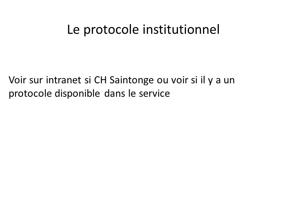 Le protocole institutionnel
