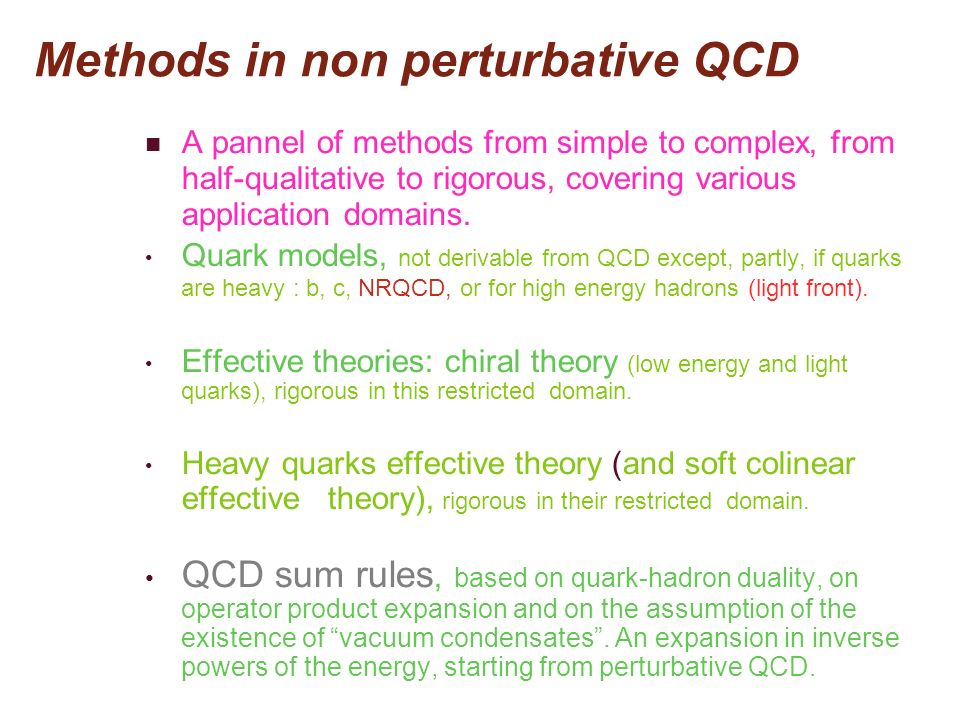 Methods in non perturbative QCD