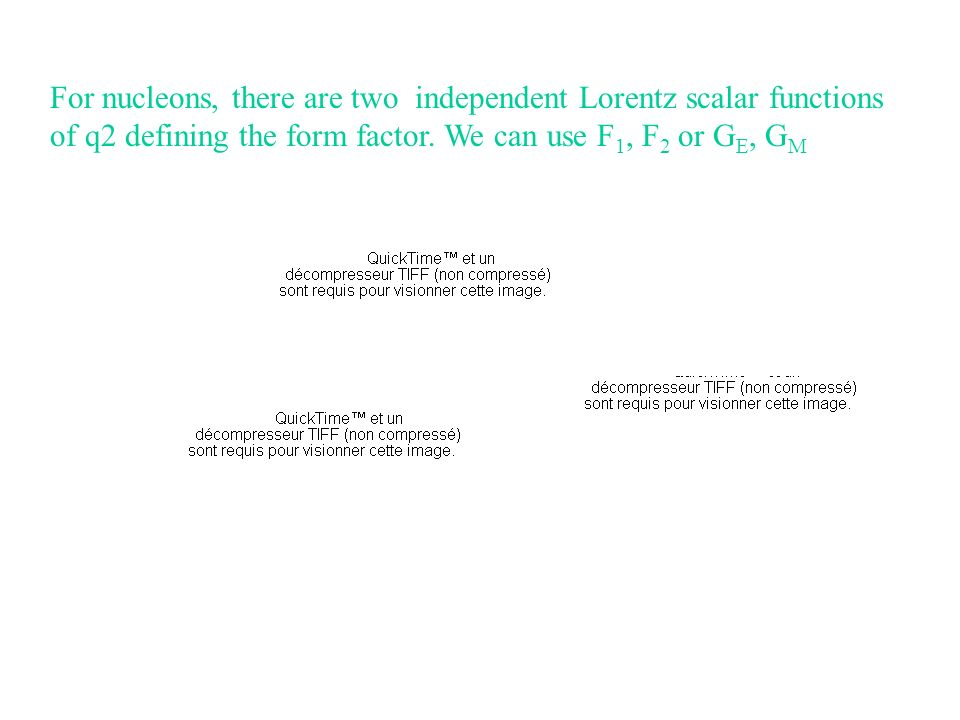 For nucleons, there are two independent Lorentz scalar functions of q2 defining the form factor.