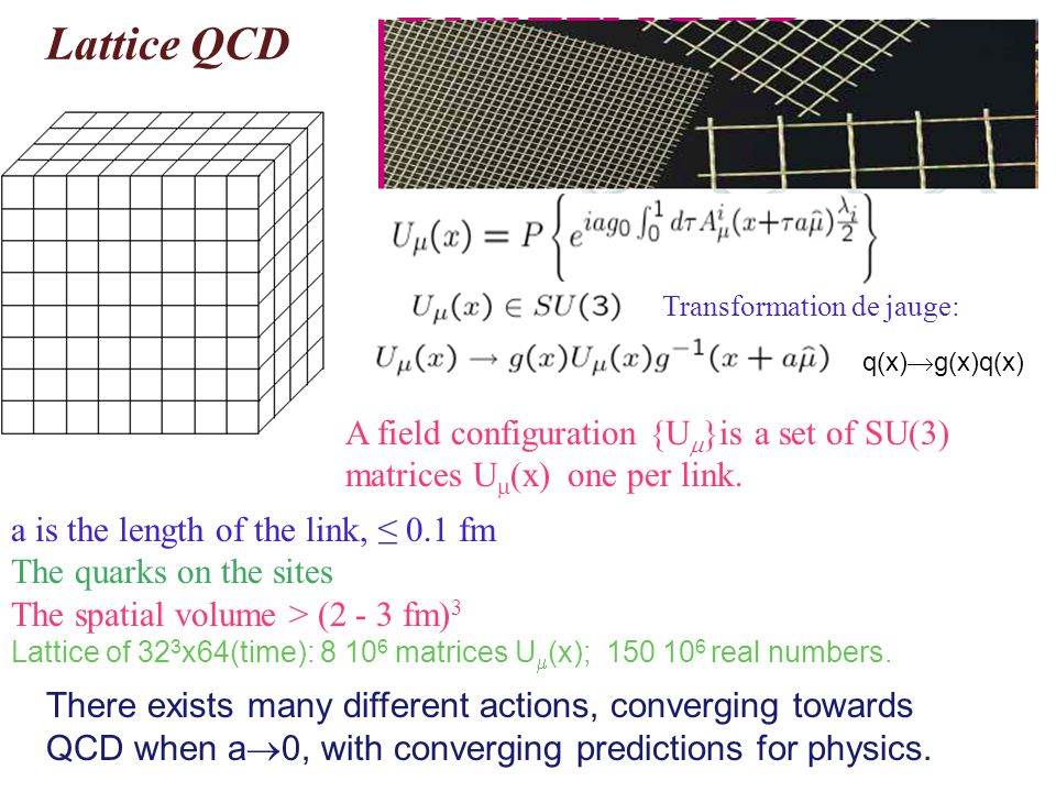 Lattice QCD Transformation de jauge: q(x)g(x)q(x) A field configuration {U}is a set of SU(3) matrices U(x) one per link.