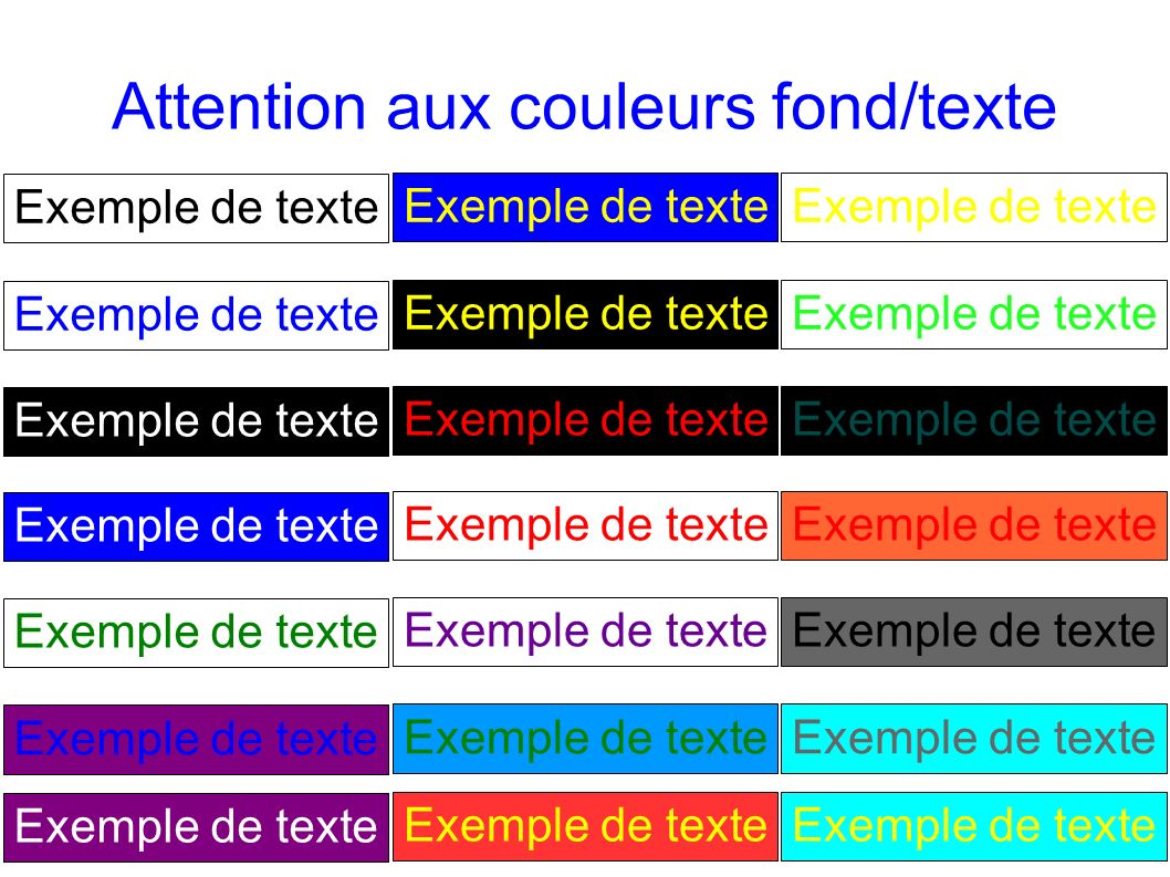 Attention aux couleurs fond/texte
