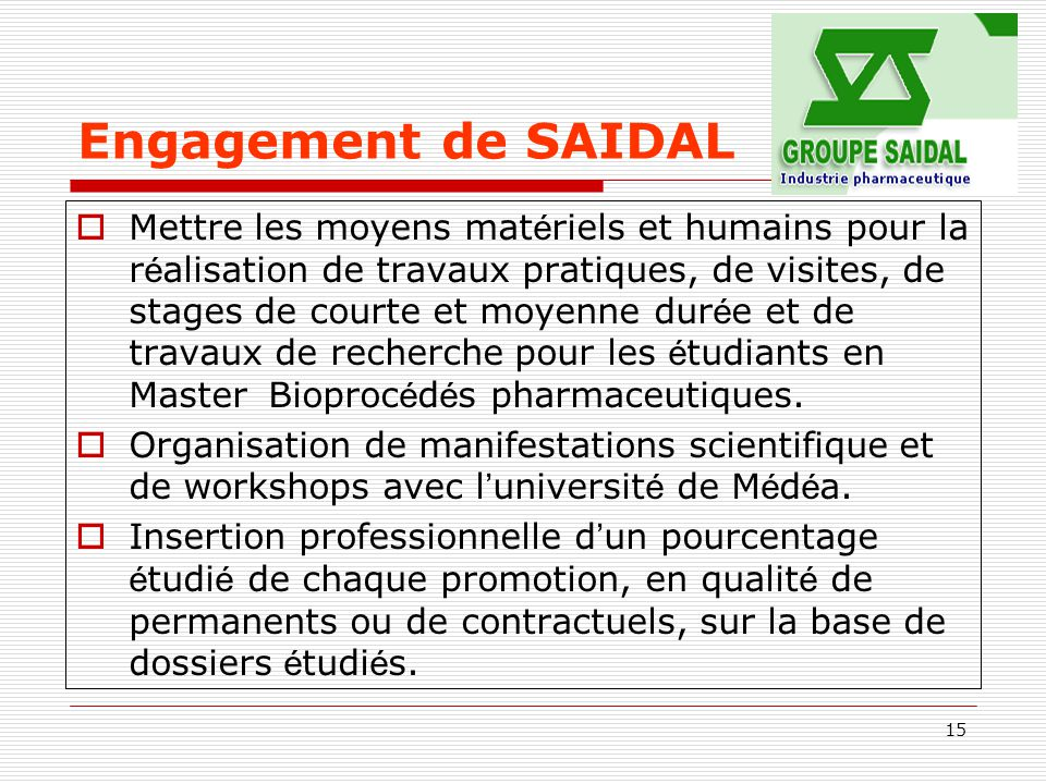 Engagement de SAIDAL