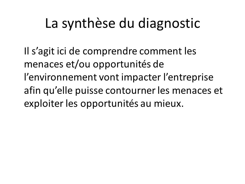 La synthèse du diagnostic