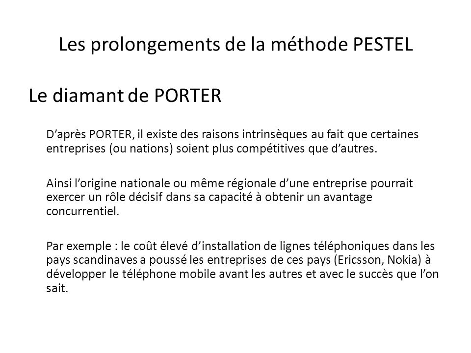 Les prolongements de la méthode PESTEL
