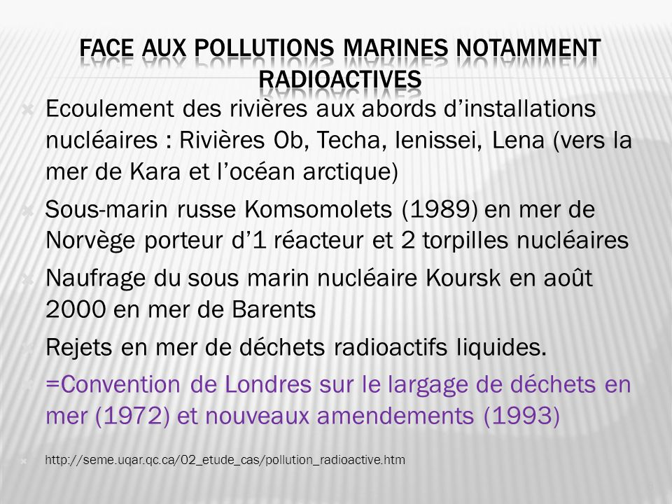 Face aux pollutions marines notamment radioactives