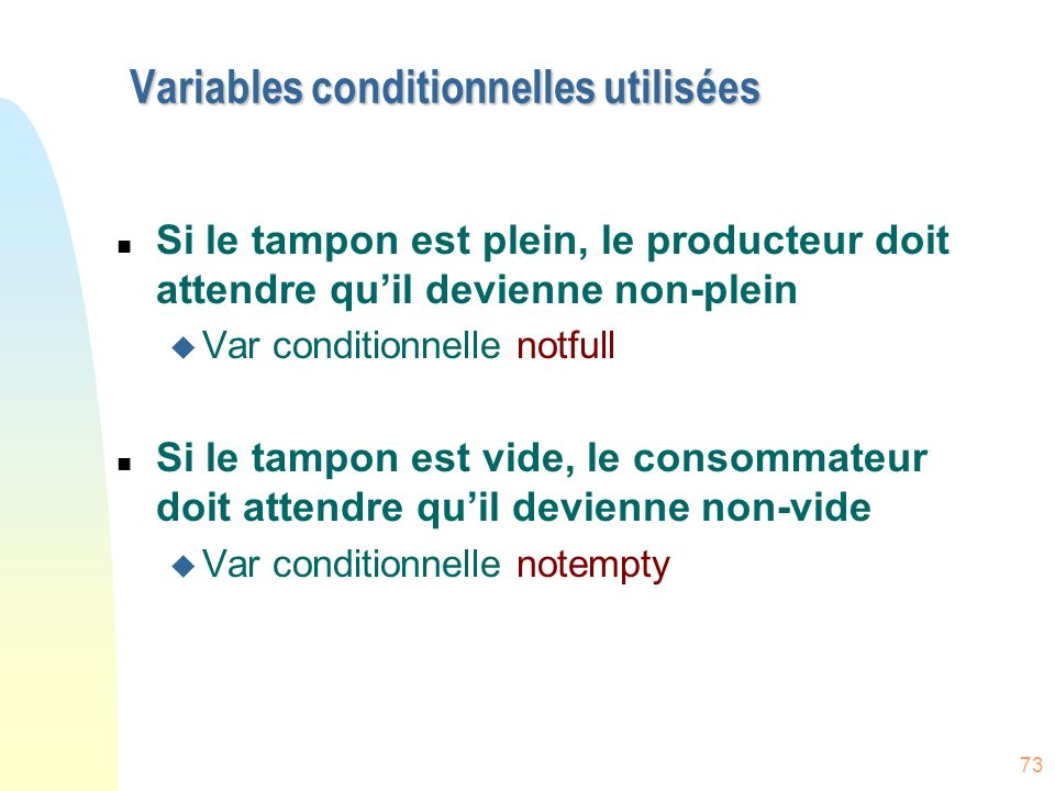 Variables conditionnelles utilisées