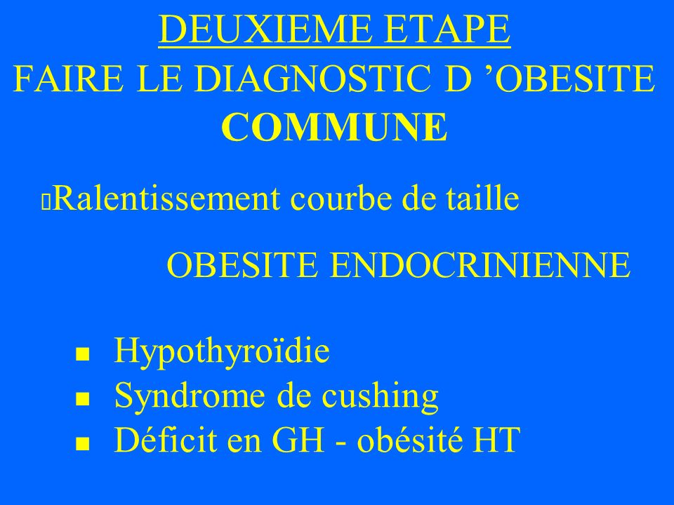 DEUXIEME ETAPE FAIRE LE DIAGNOSTIC D 'OBESITE COMMUNE