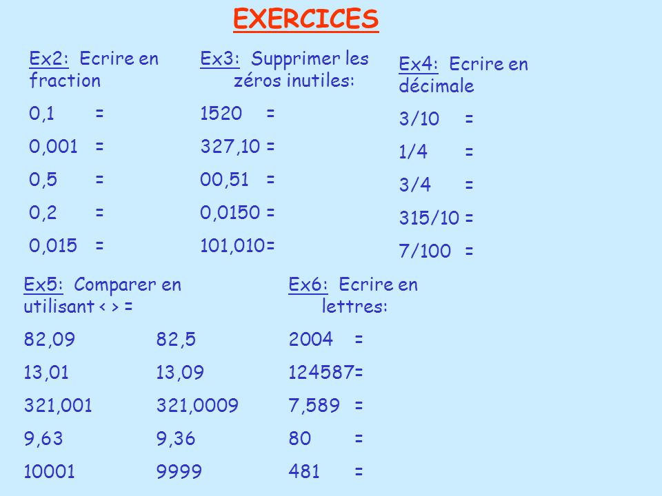 EXERCICES Ex2: Ecrire en fraction 0,1 = 0,001 = 0,5 = 0,2 = 0,015 =