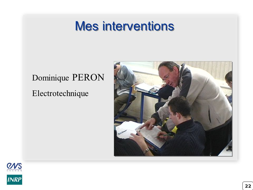 Mes interventions Dominique PERON Electrotechnique