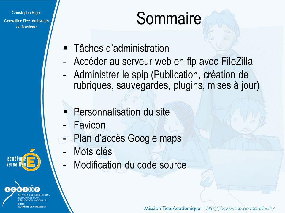 Sommaire Tâches d'administration