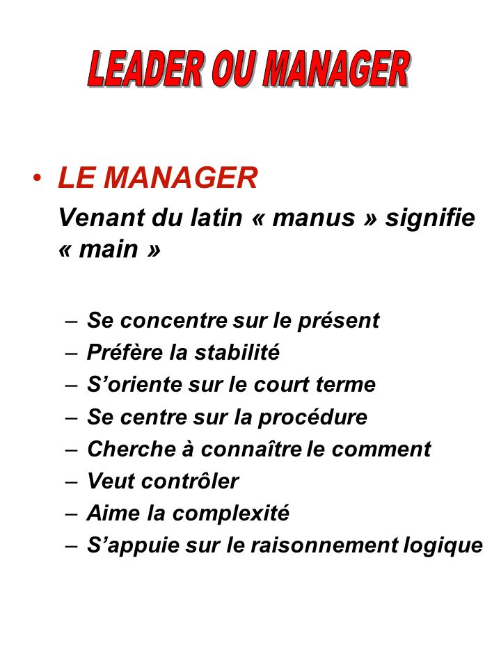 LE MANAGER LEADER OU MANAGER