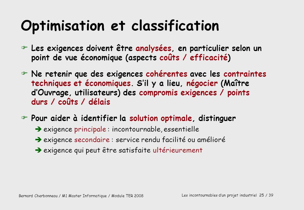 Optimisation et classification