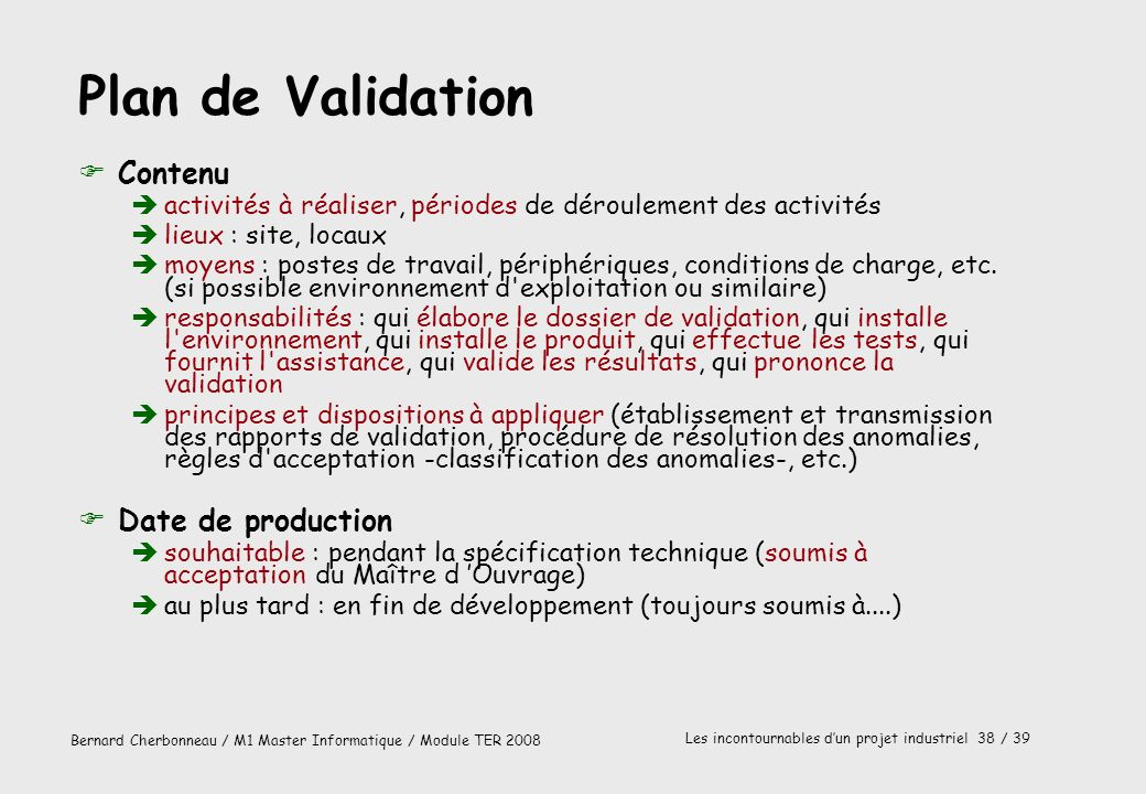 Plan de Validation Contenu Date de production