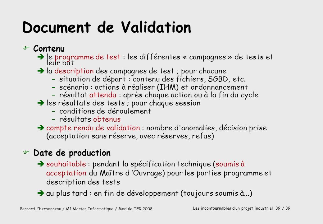 Document de Validation