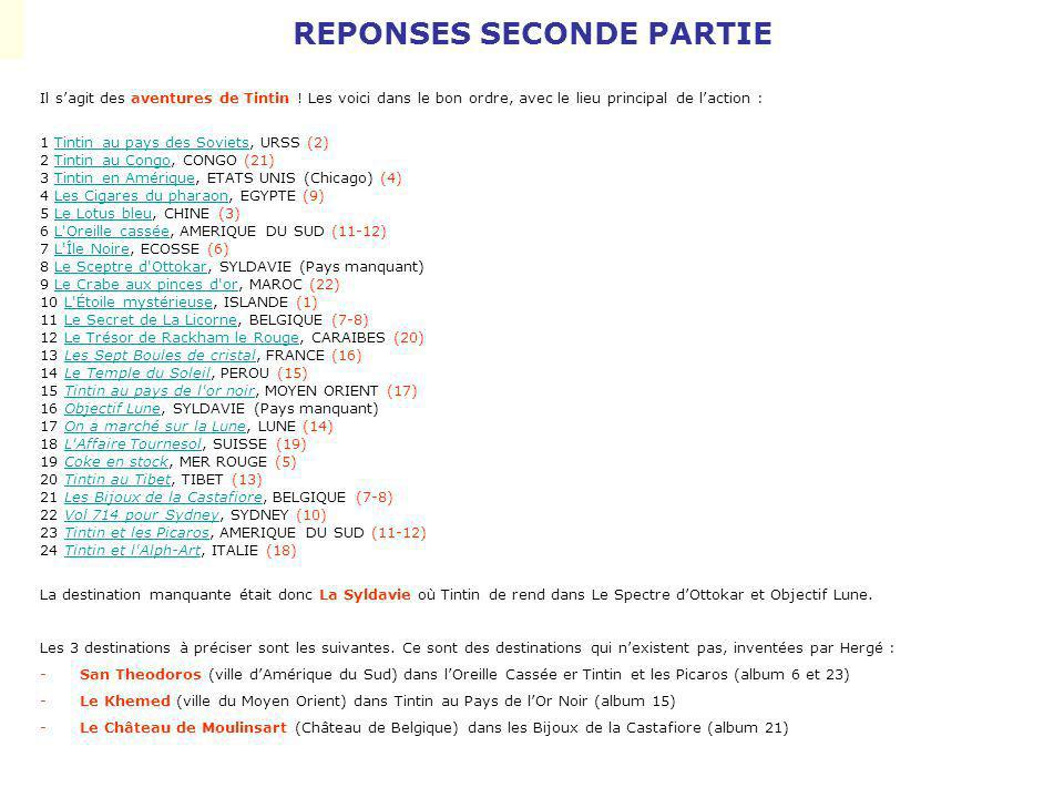 REPONSES SECONDE PARTIE