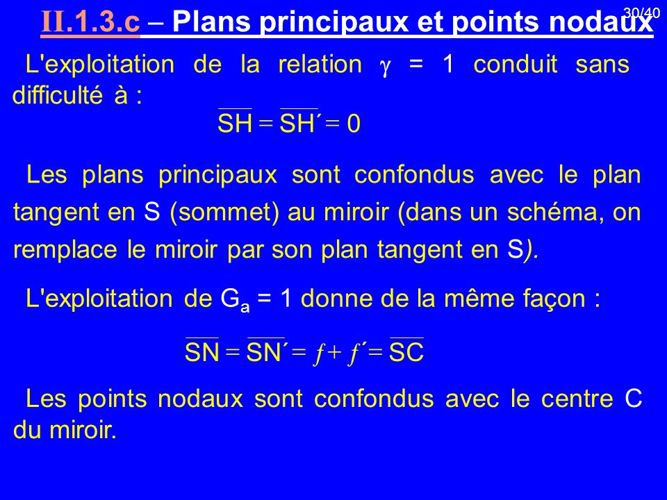 II.1.3.c  Plans principaux et points nodaux