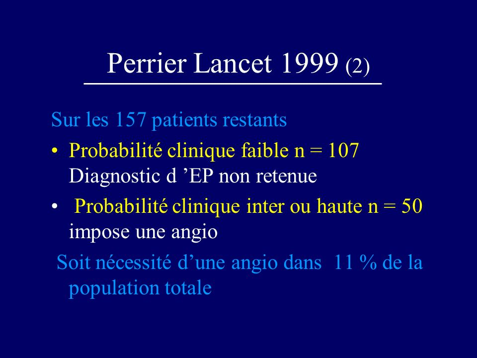 Perrier Lancet 1999 (2) Sur les 157 patients restants