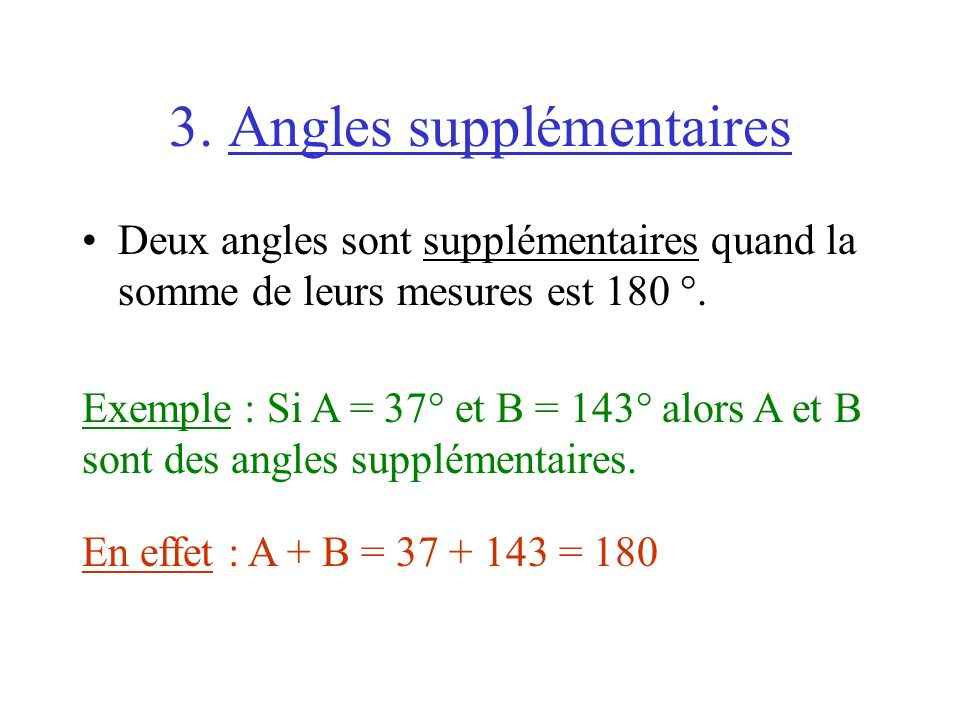 3. Angles supplémentaires
