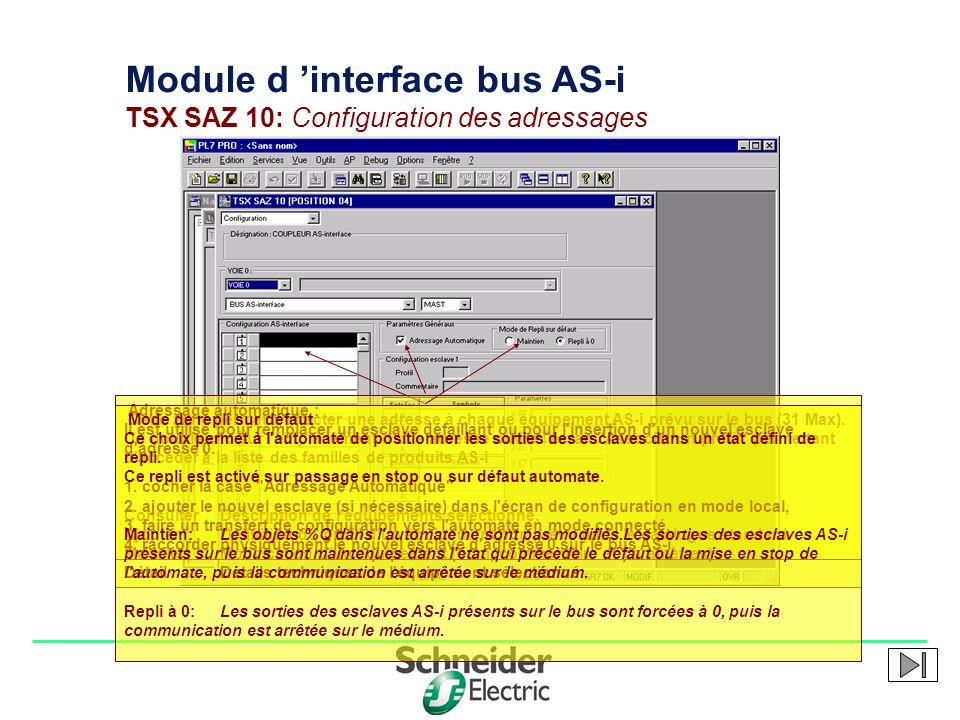 Module d 'interface bus AS-i TSX SAZ 10: Configuration des adressages