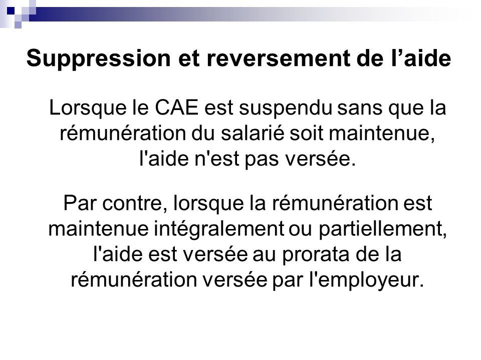 Suppression et reversement de l'aide