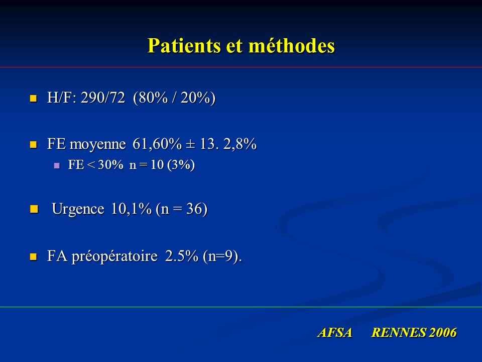 Patients et méthodes Urgence 10,1% (n = 36) H/F: 290/72 (80% / 20%)