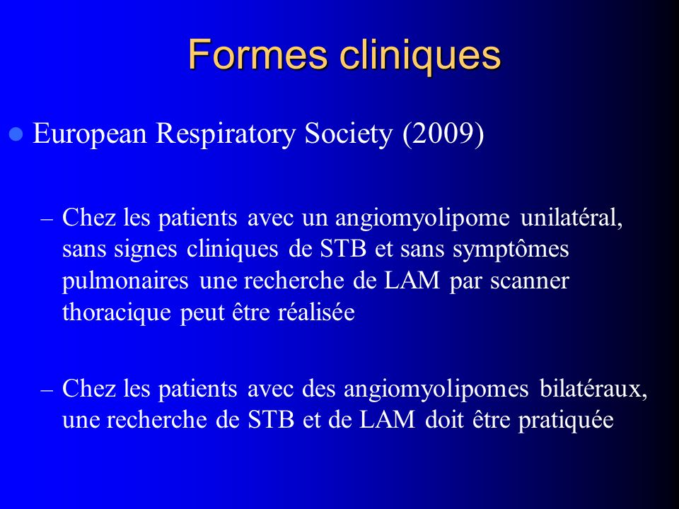 Formes cliniques European Respiratory Society (2009)