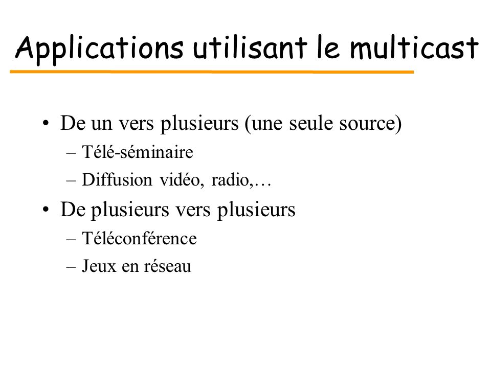 Applications utilisant le multicast