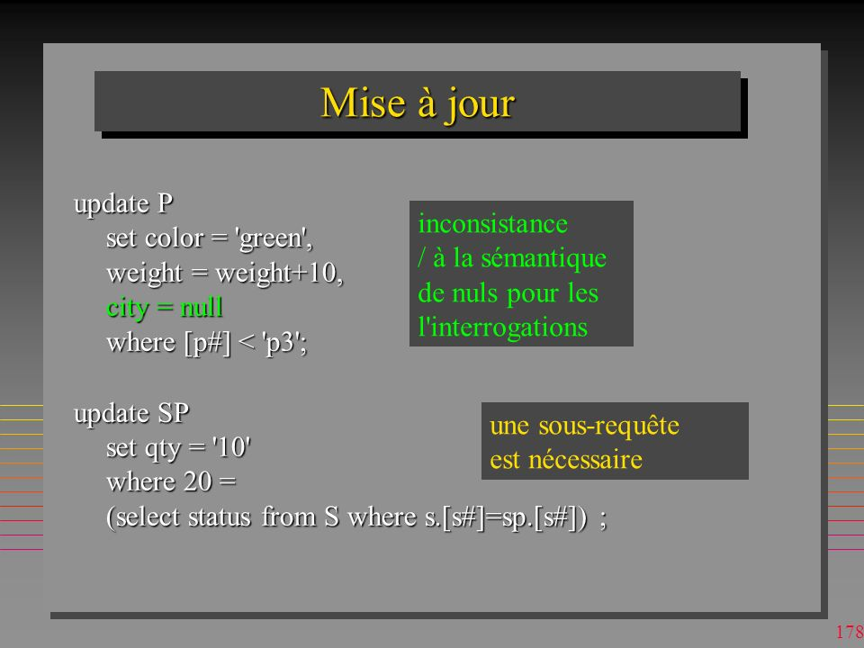 Mise à jour update P set color = green , weight = weight+10, city = null where [p#] < p3 ;