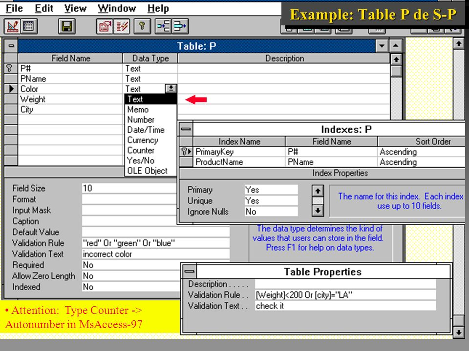 Example: Table P de S-P Attention: Type Counter -> Autonumber in MsAccess-97