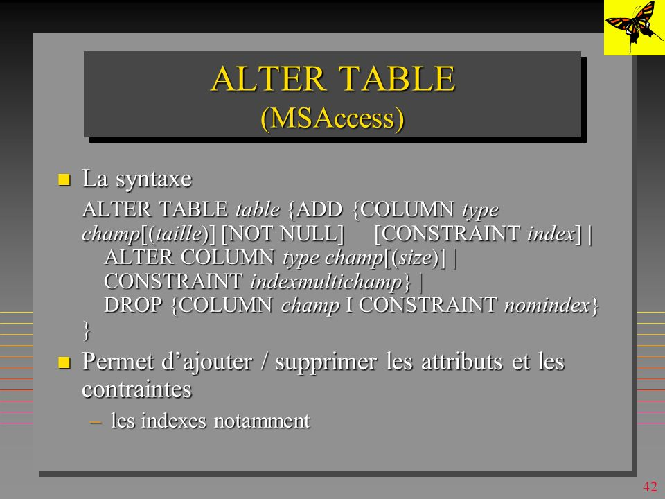 ALTER TABLE (MSAccess)