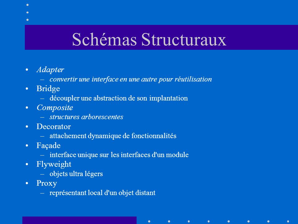 Schémas Structuraux Adapter Bridge Composite Decorator Façade