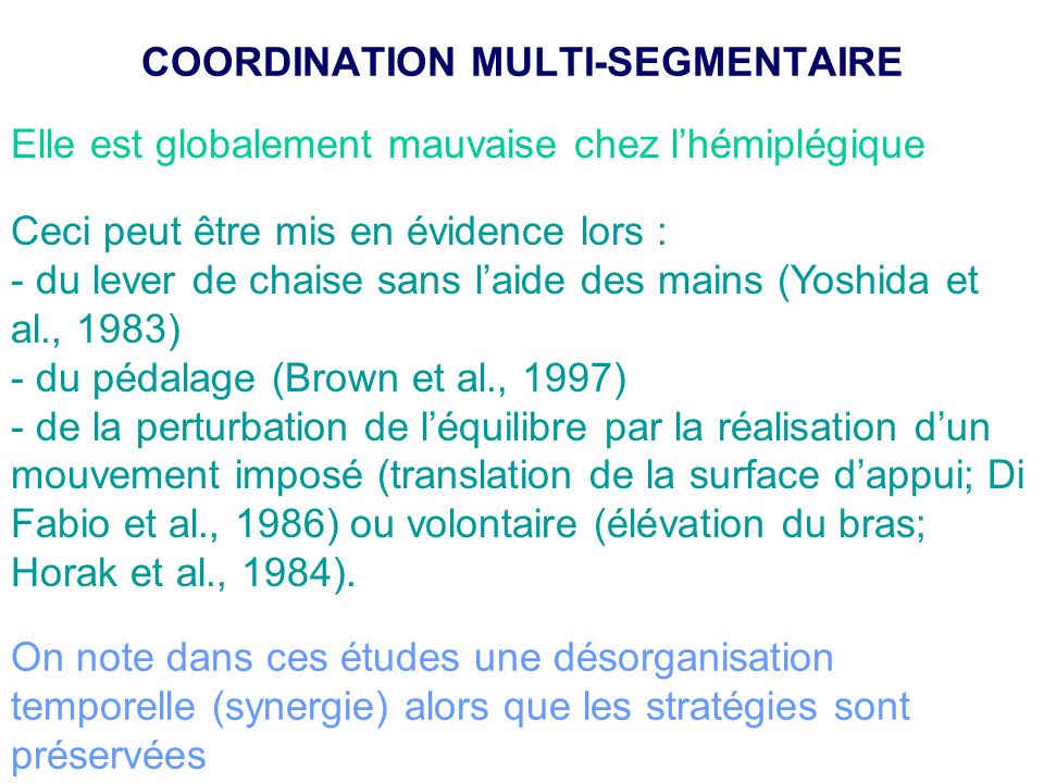 COORDINATION MULTI-SEGMENTAIRE