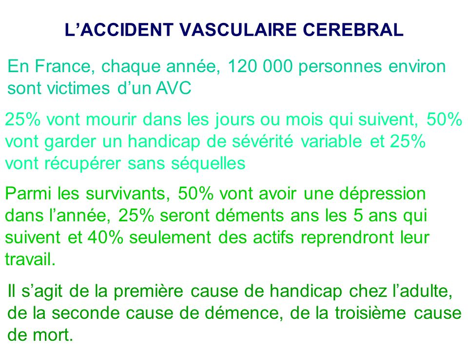 L'ACCIDENT VASCULAIRE CEREBRAL