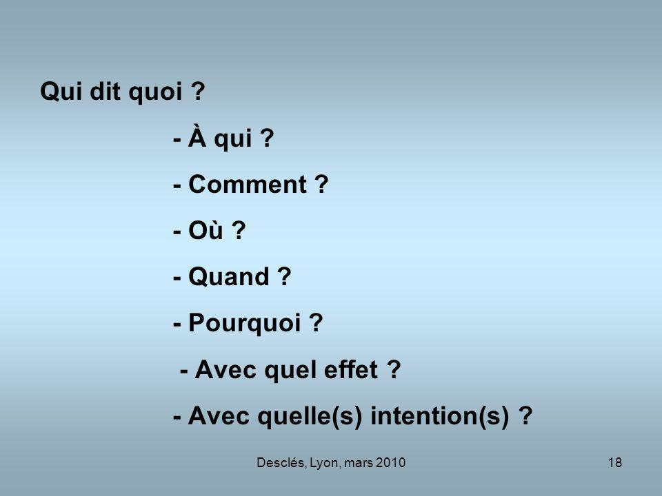 - Avec quelle(s) intention(s)
