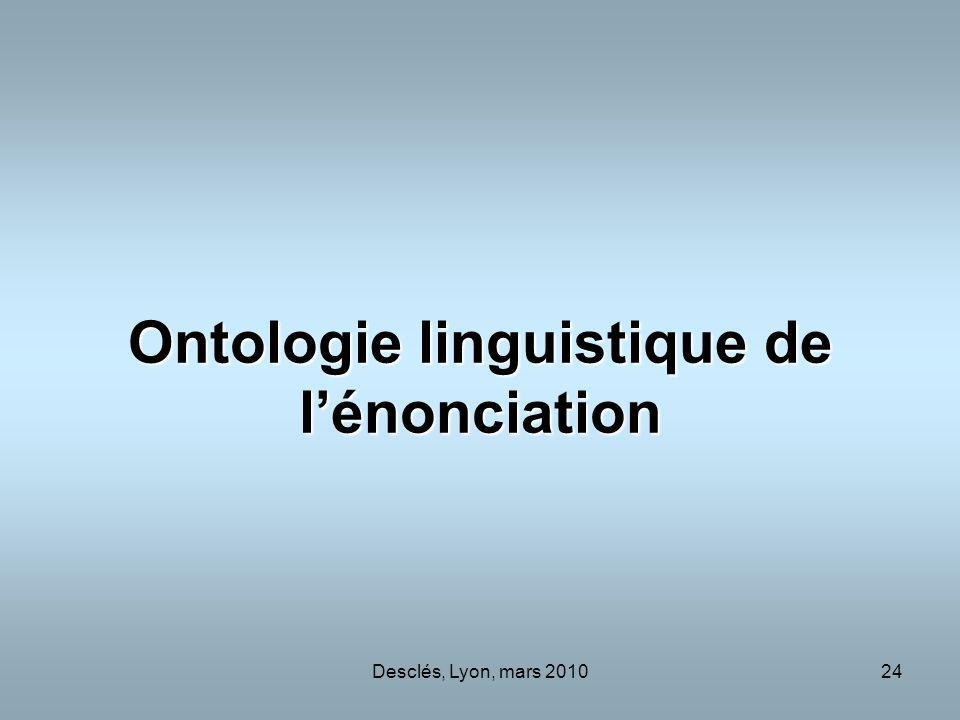 Ontologie linguistique de l'énonciation
