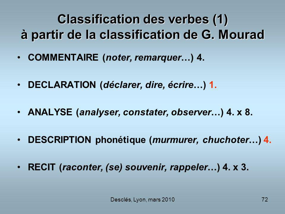 Classification des verbes (1) à partir de la classification de G